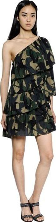 Ruffled Camo Printed Cotton Crepe Dress