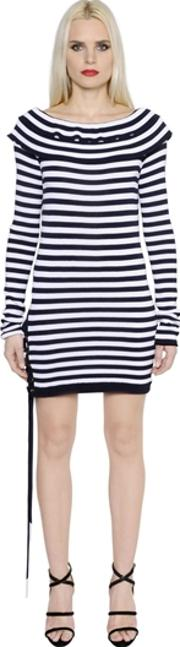 Striped Fitted Cotton Jersey Dress