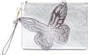 Flossy Butterfly Metallic Leather Pouch