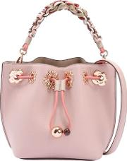 Mini Romy Flower Leather Bucket Bag