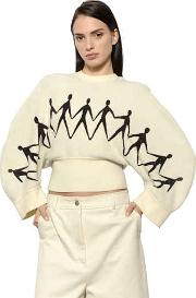 Cropped Chenille Jacquard Knit Sweater