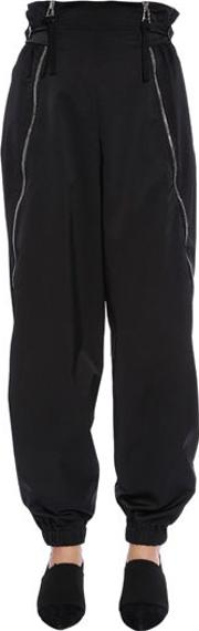High Waisted Twill Pants With Zips