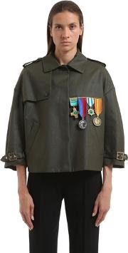 Embellished Cotton Military Jacket