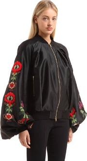 Embroidered Zip Up Satin Jacket