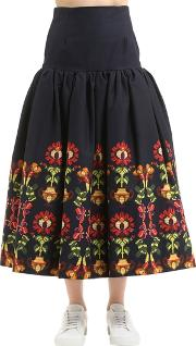 Printed Flared Cotton Skirt
