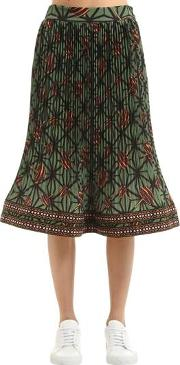 Printed Pleated Techno Georgette Skirt