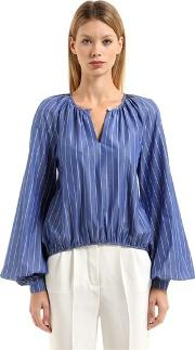 Striped Cotton Blouse W Puff Sleeves