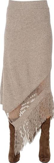 Fringed Cashmere & Wool Knit Skirt