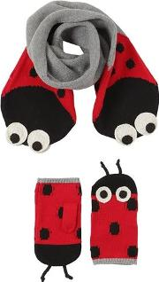 Ladybugs Cotton Blend Scarf & Mittens