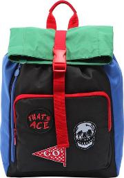 Nylon Canvas Backpack With Patches