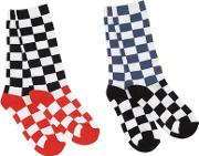 Set Of 2 Checkered Cotton Knit Socks