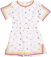 Star Embroidered Cotton Muslin Romper