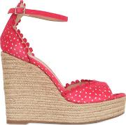 130mm Lace Effect Leather Wedge Sandals