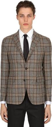 Single Breasted Wool Check Jacket