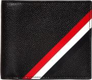 Diagonal Stripes Pebbled Leather Wallet