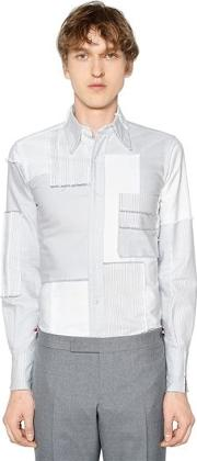 Patchwork Embroidery Cotton Oxford Shirt