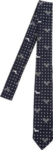 Tennis & Hector Dog Jacquard Silk Tie