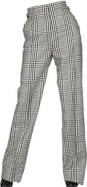 Large Check Cool Wool Wide Trousers