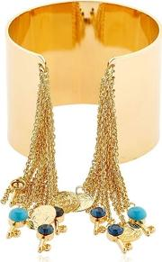Chain Fringe & Charms Cuff Bracelet