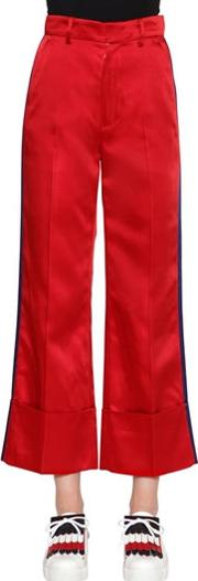 Tailored Satin Pants W Side Bands