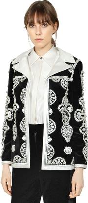 Mother Of Pearl Buttons Velvet Jacket