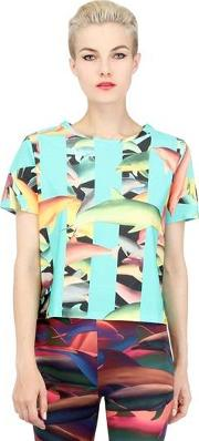Tropical Dolphin Printed Cotton T Shirt