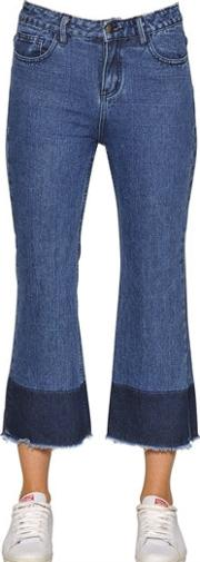 Cropped Frayed Cotton Denim Jeans