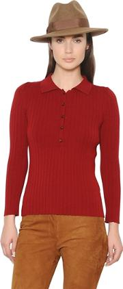 Wool Wide Rib Knit Sweater With Collar