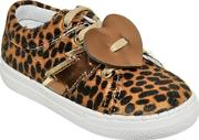 Leopard Printed Faux Pony Hair Sneakers