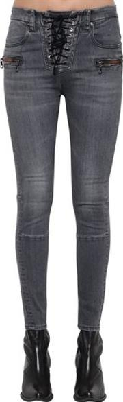 Cotton Denim Lace Up Skinny Jeans