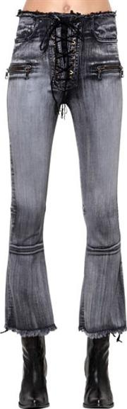 Lace Up Flared Cotton Denim Jeans