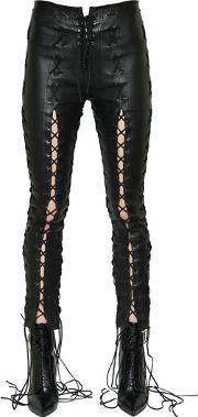 Skinny Lace Up Stretch Leather Pants