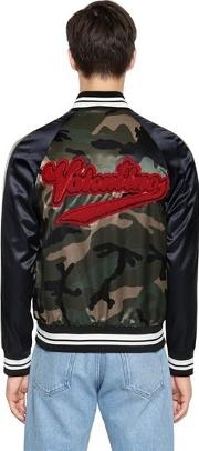 Beaded Logo Camo Satin Bomber Jacket
