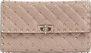 Spike Quilted Studded Leather Clutch