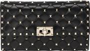 Spikes Quilted Studded Leather Clutch
