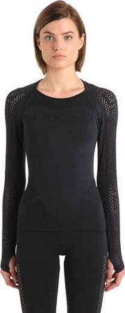 Perforated Seamless Long Sleeve Top