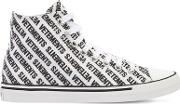 20mm Logo Print Canvas High Top Sneakers