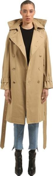 Adjustable Fit Cotton Twill Trench Coat
