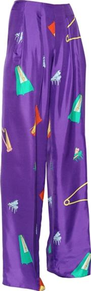 Musical Printed Silk Satin Pants