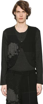 Henley T Shirt With Destroyed Wool Vest