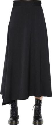 Asymmetric Flared Twill Long Skirt
