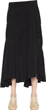 Draped Techno Crepe De Chine Skirt