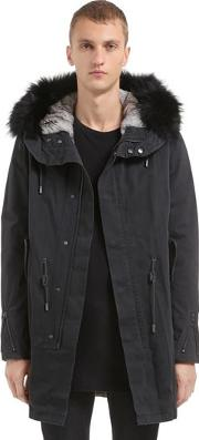 Fitted Canvas Parka W Fur Trim & Lining