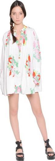 Floral Printed Cotton Shirt Dress