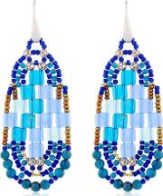 Pixel Blue Beaded Earrings