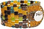 Pixel Orange Beaded Bracelet