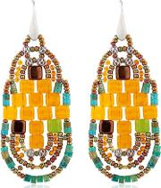 Pixel Orange Beaded Earrings