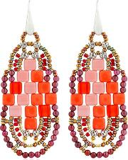 Pixel Red Beaded Earrings