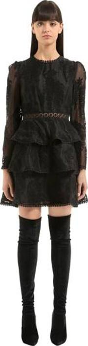 Maples Tiered Lace Mini Dress