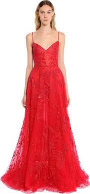 Beaded Tulle Floral Gown